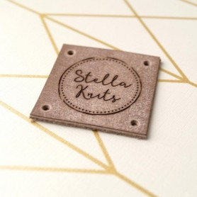 30pcs custom leather square Knitting garment Name tags Sewing Crochet clothing labels with logo handmade label DIY Accessories
