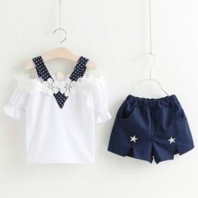 Kids Girls Clothes Sets Summer 2019 New Off Shoulder Flower Cotoon Shirt+Star Short Pants 2PCS Girl Suits Children Clothing