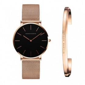 Stainless Steel U-shape Bracelet Watches Set Female High Quality Quartz Watch Luxury Women Watch Bangle Set For Valentine's Gift
