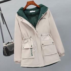Women Fleece Parka 2020 New Thick Winter Hooded Coat Female Warm Letter Print Windbreaker Jacket Laides Loose Casual Parkas, Hom