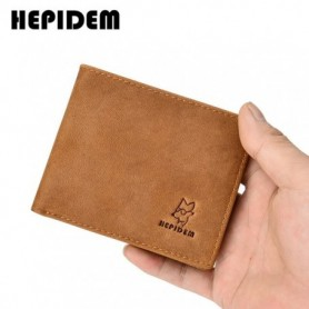 HEPIDEM RFID High Quality Crazy Horse Genuine Leather Slim Wallet 2020 New Front Pocket Money Dollar Bill Purse for Men 116, Hom