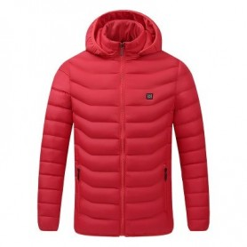 2020 NEW Men Heated Jackets Outdoor Coat USB Electric Battery Long Sleeves Heating Hooded Jackets Warm Winter Thermal Clothing,