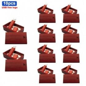 10pcs/lot Wooden USB flash drive +Packing box red wood pendrive 64GB 4GB 8GB 16GB 32GB memory stick photography gift free logo,