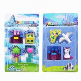 New Cartoon Ice Snow World Castle School Eraser Magic Wand School Supplies Pencil Eraser Sets Baby Girl Toys for Promotion
