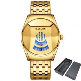 Dropshipping Fashion Cool Locomotive Mens Watches Luxury Quartz Gold Wristwatch Men Waterproof Geometric Shape Relogio Masculino
