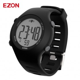 New EZON T037 Men Women Sports Wristwatch Digital Heart Rate Monitor Outdoor Running Watch Alarm Chronograph with Chest Strap, H