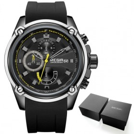 MEGIR Army Sports Quartz Watches for Men Black Silicone Strap Military Marine Chronograph Wristwatch for Man Relogios 2086 Black