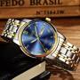 Dropshipping New Mens Watches Luminous Waterproof Gold Stainless Steel Quartz Watch Men Date Calendar Business Wristwatch XFCS
