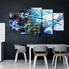 Wall Art Painting 5 Panels HD Japan Anime Boy Picture Kamado Tanjiro Demon Slayer Poster Anime Art Canvas Painting Home Decor