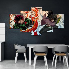 Wall Art Home Decor Painting 5 Panels HD Japan Anime Boy Picture Tomioka Giyuu Demon Slayer Kamado Tanjirou Poster Animation