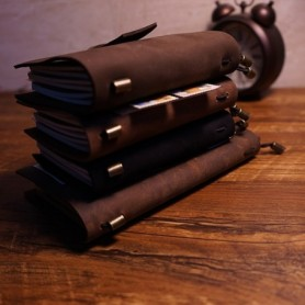 New handmade notebook genuine leather travel case journal cover notebook belt style 5 color school supplies vintage notebooks, H