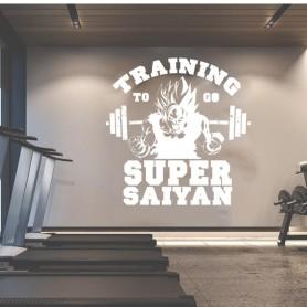 Gym Z Goku Training Barbell Wall Sticker Fitness Crossfit Exercise Manga Goten Trunks Janpanse Saiyan Anime Wall Decal Vinyl De