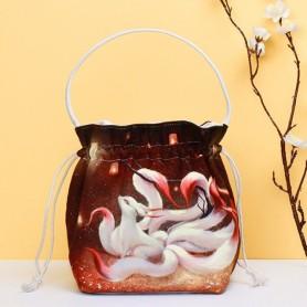 Retro Chinese Style Print Hanfu Handbag Anime Cosplay Gumiho Cute Beam Tote Bag Packet Coin Purse Wallets Girl Kimono Package, H