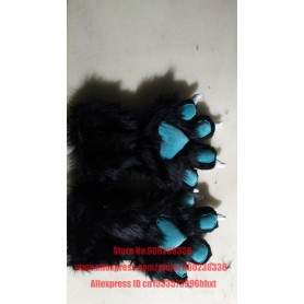 2 Pieces Cute Cat Kitten Paw Claw Black blue Gloves Fursuit Anime UNISEX Costume Cosplay Plush for Party Accessories, Home