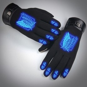 Anime Attack On Titans Cosplay Glove Autumn Winter Keep Warm Noctilucent Black Full Finger Gloves Accessories Handwear Costume,