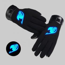 Anime Fairy Tail Cosplay Glove Autumn Winter Keep Warm Noctilucent Black Full Finger Gloves Unisex Accessories Handwear Costume