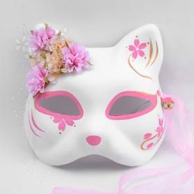 Japanese kimono fox cat mask hand painted anime cherry blossom small fresh silk flower bell cosplay, Home