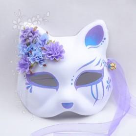 Japanese kimono fox cat mask hand painted anime purple blue gradient silk flower bell cosplay
