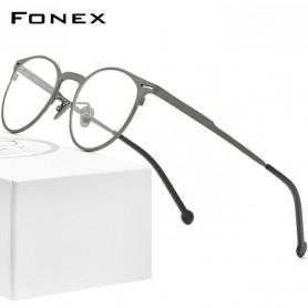 FONEX Pure Titanium Glasses Frame Men Retro Round Prescription Eyeglasses Frame Optical Myopia Eyewear Eye Glass for Women 8510,