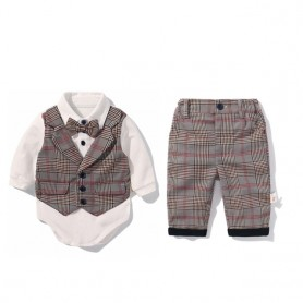 Toddler Boys Clothing Set 2021 Spring Baby cotton plaid Children Kid Clothes Suits 5pcs birthday Party Costume 1 2 3 Year Gift