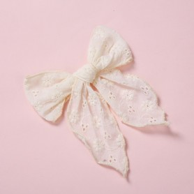 """4.8"""" Baby Embroider Lace Hair Bow With Clips,Newborn Curled Edge Hair Bow Nylon Hair Bands for Girls Hairpins Toddler Barrettes,"""