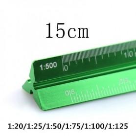 TUTU high quality colorful 15cm aluminum triangular scale ruler aluminum 1:20 - 1:600 alloy metal scale regua desenho H0003