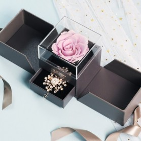 Fashion Rose Jewelry Box Beauty And Beast Roses Eternal Flowers Wedding Ring Necklace Jewelry Box Valentine's Day Gift For Ladie