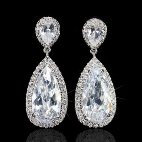 Pera Classic Big Water Drop AAA+ Cubic Zirconia Silver Color Luxury Wedding Bridal Long Dangle Earrings Jewelry for Brides E633,