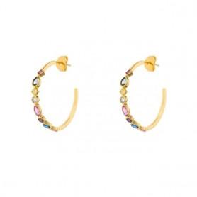 GS 925 Sterling Silver Colorful Crystal Circle Hoop Earrings Rainbow Zircon C Shape Piercing Earring Women Luxury Jewelry Gift,