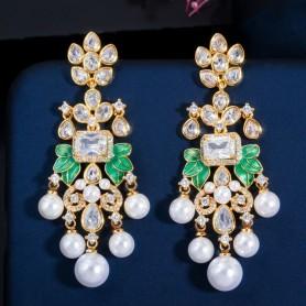 CWWZircons Flowers Cubic Zircon CZ Long Dangle Pearl Earrings for Women African Bridal Earring aretes de mujer modernos CZ656, H
