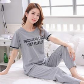 Full Length Pants + short T-shirt women's cotton pajamas 2pcs/set korean lady clothes summer sleepwear female sleep tops pijamas