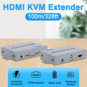 HDMI Extender Transmitter Receiver 100m/50m Over RJ45 Network CAT5E/6/7 Cable HDMI KVM Extender with 2 USB Out for PC DVD HDTV,