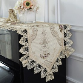 Proud Rose Lace Table Runner Piano Towel Cover Cloth Embroidery Table Cloth Piano Dust-proof Cover Wedding Decoration, Home