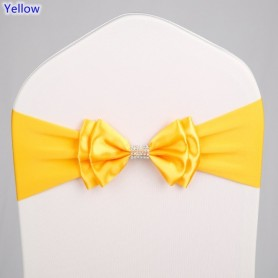 20 Colours Wedding Satin Chair Sash Spandex Lycra Bow Tie Band Ready Made For Use Banquet Hotel Party Decoration, Home
