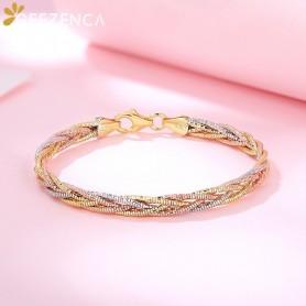 Italian Jewelry Handmade Weave Bracelet S925 Silver Gold Plated Three Color Five Thread Bracelets Bangle Fine Jewel Women Gift,