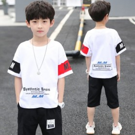 New Summer Boys Clothing Sets Children T-shirt Short Sleeve +Pants Set Two Pieces Set Kids Baby Boys Clothes 6 8 10 11 12 Years,