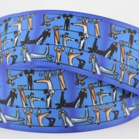 Blue Greyhound/Dog printed grosgrain ribbon 9-75mm DIY handmade materials hair accessorie wedding gift wrap tape ribbons, Home