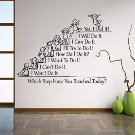 Which Step Have You Reached Today Motivation Quote Wall Decal Team Building Quotes School Class Rooms Quote Stickers WZ206, Home