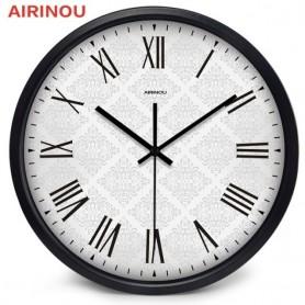 Airinou Circle Round Large Brief Black Metal Frame Men Women Office Home Family Simple Wall Clock, Home