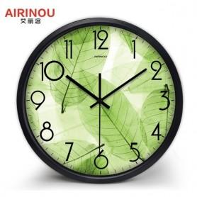 Airinou New Design Green Wall Clock Translucent Leaf Nature Quite Living Room Quartz Glass Silent Home Decor Clock, Home