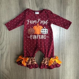Thanksgiving Girlymax Baby Girls Boys Toddler Wine Farm Fresh Pumpkin clothing infant romper polka dot cotton romper ruffles, Ho