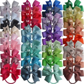 Pinwheel Hair Bow with Elastic Bands 3.5'' Hairbow Baby Girls Hair Accessories PonyTail Holder Hair Bobble Dovetail bows 40pcs,