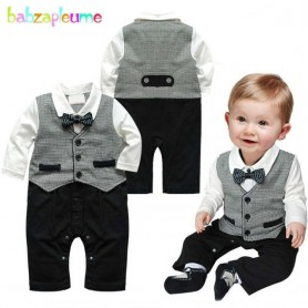 babzapleume 3-18Months/Spring Autumn Newborn Boys Clothes Gentleman Baby Rompers Long Sleeve Jumpsuit Infant Clothing BC1282, Ho