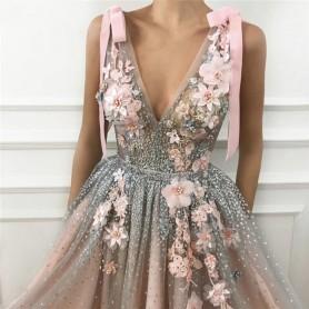 2020 Flesh Pink Tulle Prom Maxi Dresses Elegant Women Formal Party Night Long Appliqus Robes Elegant Evening Gowns Vestidos Gala