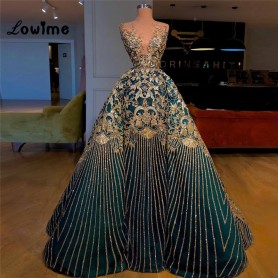 Plus Size Glitter Evening Dresses Formal Dubai Party Dress Robe De Soiree 2020 Turkish Middle East Arabic Prom Gown 2020 Custom,