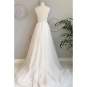 Simple Applique Evening Dress 2021 Ivory Spaghetti Strap V-neck A-line Elegant Chic For Beach Wedding Backless فساتين السهرة, Ho