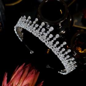 New Design Cubic Zirconia Princess Tiara Crown, Bridal Wedding Hair Accessories Halo Headband, Home
