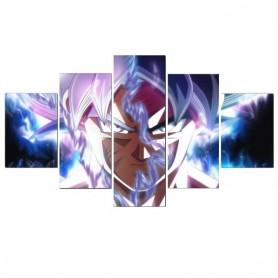 Dragon Ball 5 Panels Goku Saiyan Wall Art Anime Poster Canvas Painting Picture Home Decoration Living Room Decor Mural Cudros, N