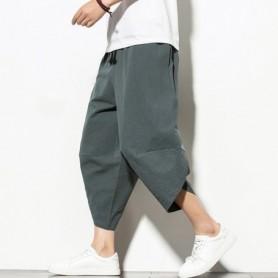 Summer Cotton Harem Pants Men Casual Hip Hop Trousers Drawstring Cross Bloomers Calf-Length Pants Joggers Streetwear, Home