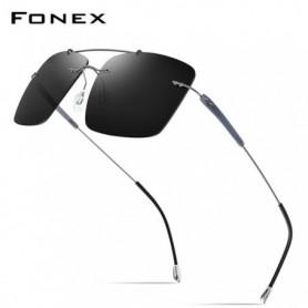 FONEX Titanium Alloy TR90 Rimless Sunglasses Men 2020 New Ultralight Screwless Square Women Polarized Sun Glasses for Men 20009
